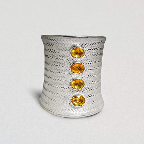 Lumina Bangle, Citrine, Exclusive, Rhodium, silver, spo-disabled, StoneColor:Orange, Style:Statement Bangle