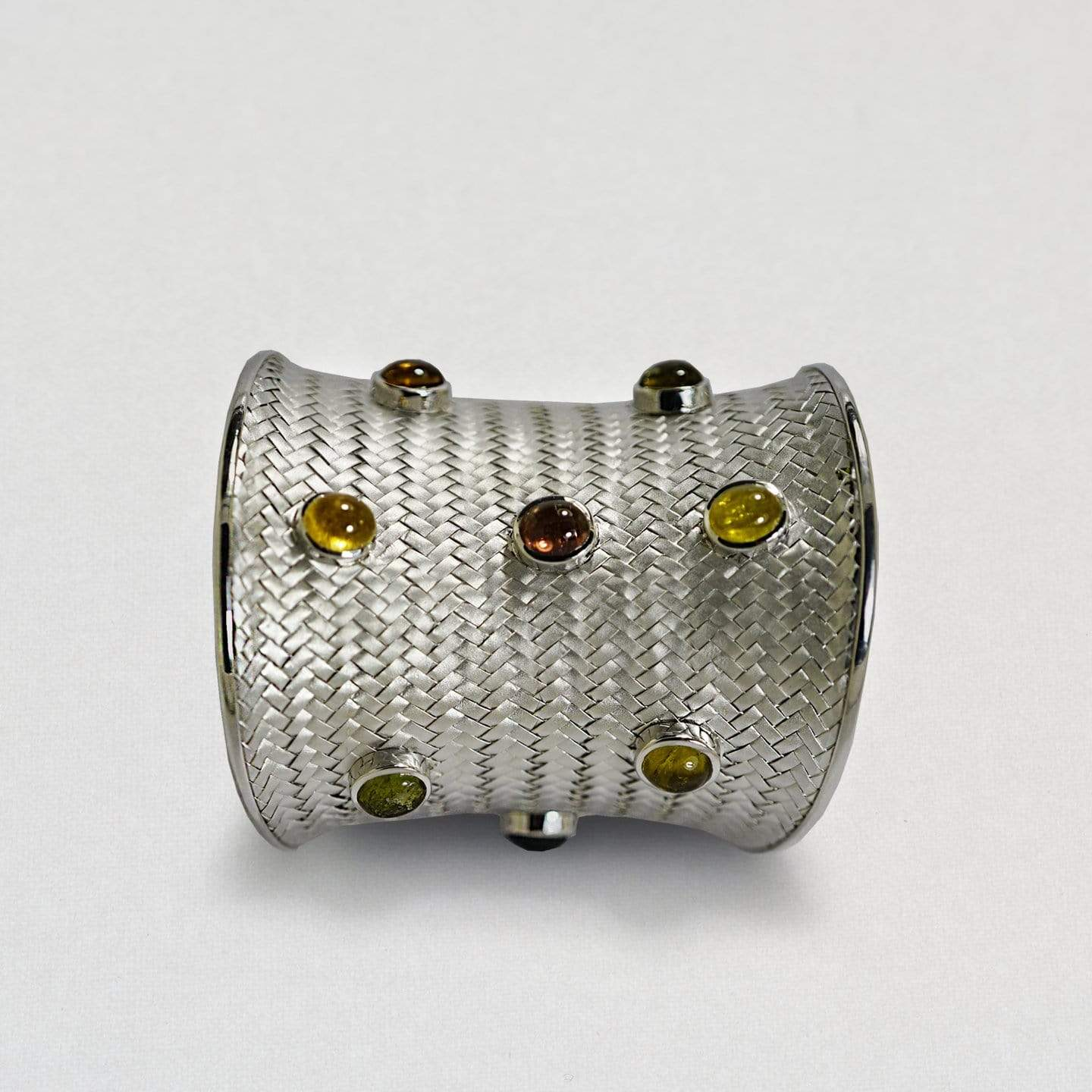 Perla Bangle, Exclusive, Rhodium, silver, spo-disabled, StoneColor:Orange, Style:Fantasy, Tourmaline Bangle