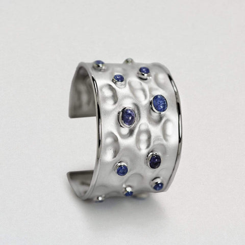 Saria Bangle, Exclusive, Rhodium, Sapphire, silver, spo-disabled, StoneColor:DeepBlue, Style:Everyday Bangle
