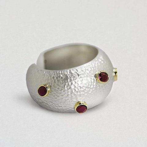Morwenna Bangle, Exclusive, Garnet, Gold, Rhodium, silver, spo-disabled, StoneColor:Red, Style:Everyday Bangle