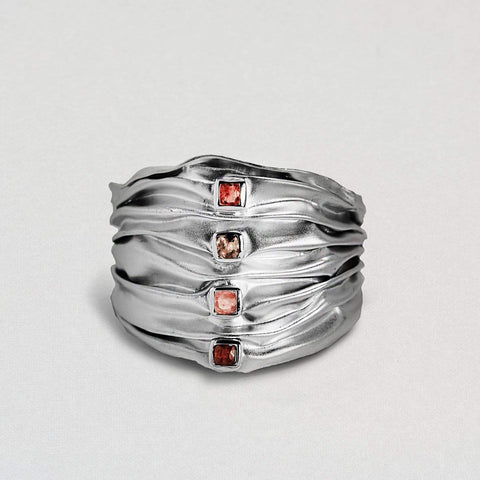 Haldira Bangle, Exclusive, Rhodium, Sapphire, silver, StoneColor:Red, Style:Everyday Bangle