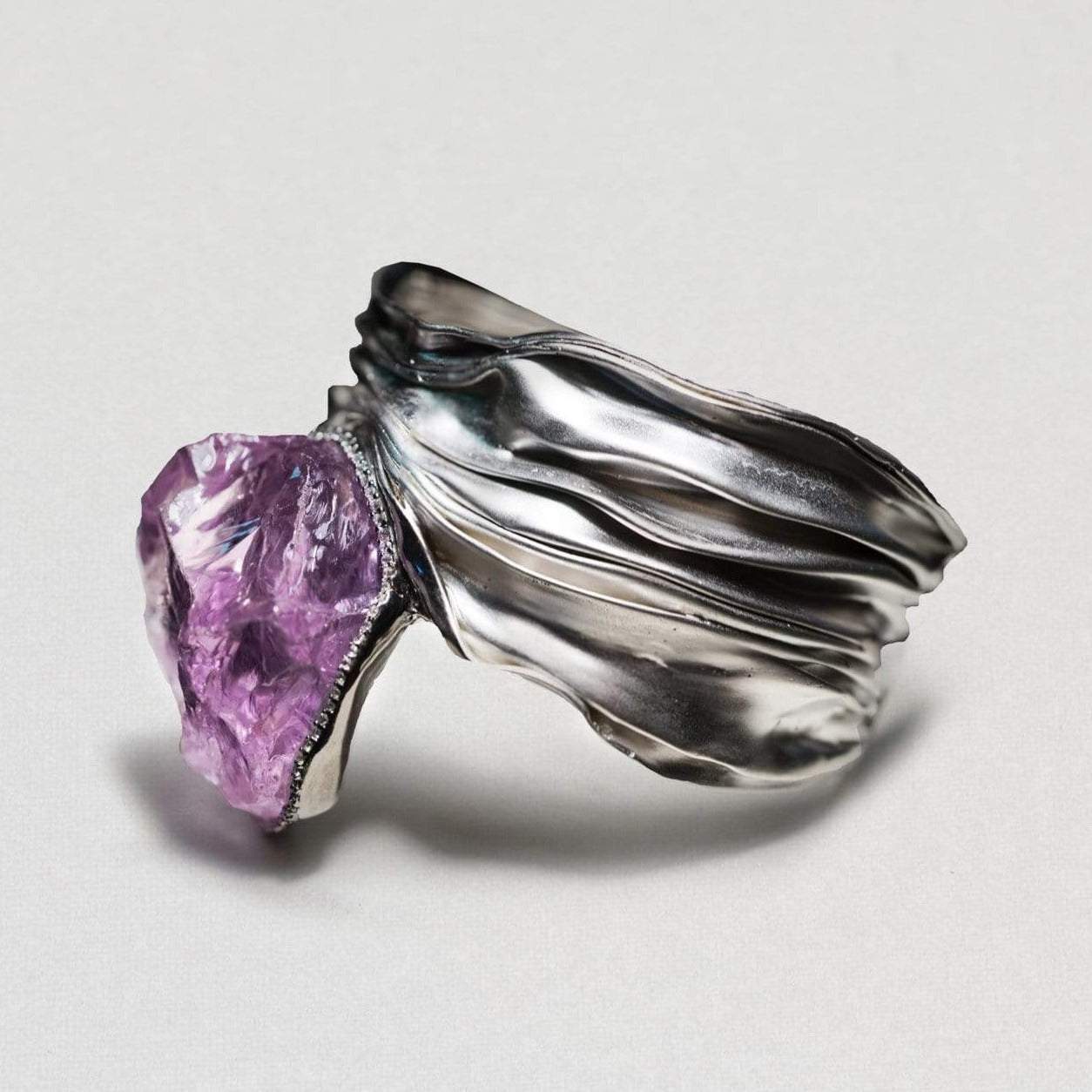 Aeris Bangle, Amethyst, Exclusive, Rhodium, silver, spo-disabled, StoneColor:purple, Type:LargeSoloStone Bangle