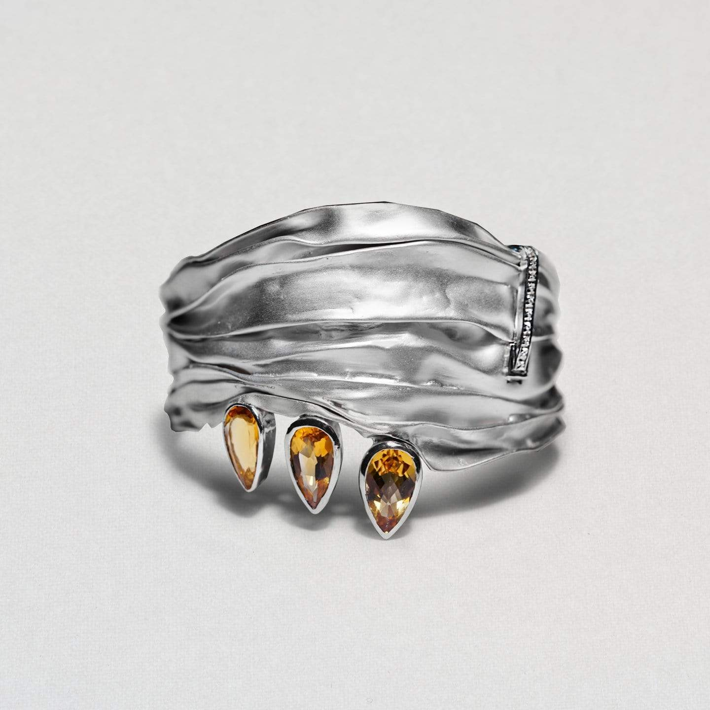 Luthien Bangle, Citrine, Exclusive, Rhodium, Sapphire, silver, spo-disabled, StoneColor:Orange, Style:Everyday Bangle