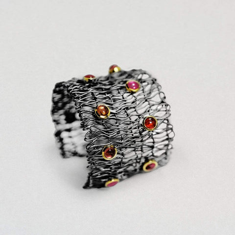 Lyanra Bangle, Exclusive, Gold, gray, Rhodium, spo-disabled, StoneColor:Red, Style:Fantasy, Tourmaline Bangle