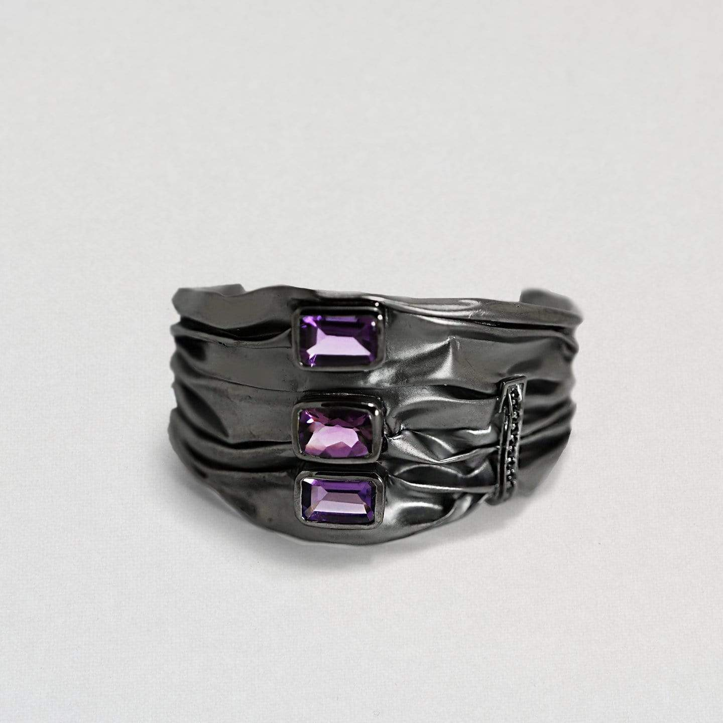 Ashel Bangle, Amethyst, Exclusive, gray, Rhodium, Spinel, spo-disabled, StoneColor:purple, Style:Everyday Bangle
