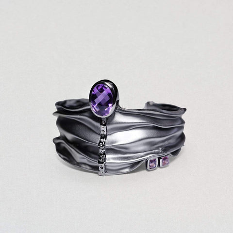 Aenean Bangle, Amethyst, Exclusive, gray, Rhodium, spo-disabled, StoneColor:purple, Style:Everyday, Topaz Bangle