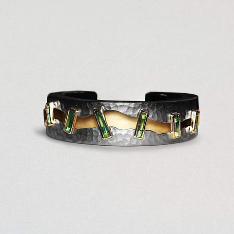 Coriana Bangle, Exclusive, Gold, gray, Rhodium, spo-disabled, StoneColor:Green, Style:Everyday, Tourmaline Bangle