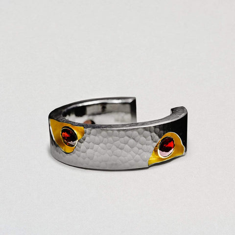 Erlyan Bangle, Exclusive, Garnet, Gold, gray, Rhodium, spo-disabled, StoneColor:Orange, StoneColor:Red, Style:Everyday Bangle