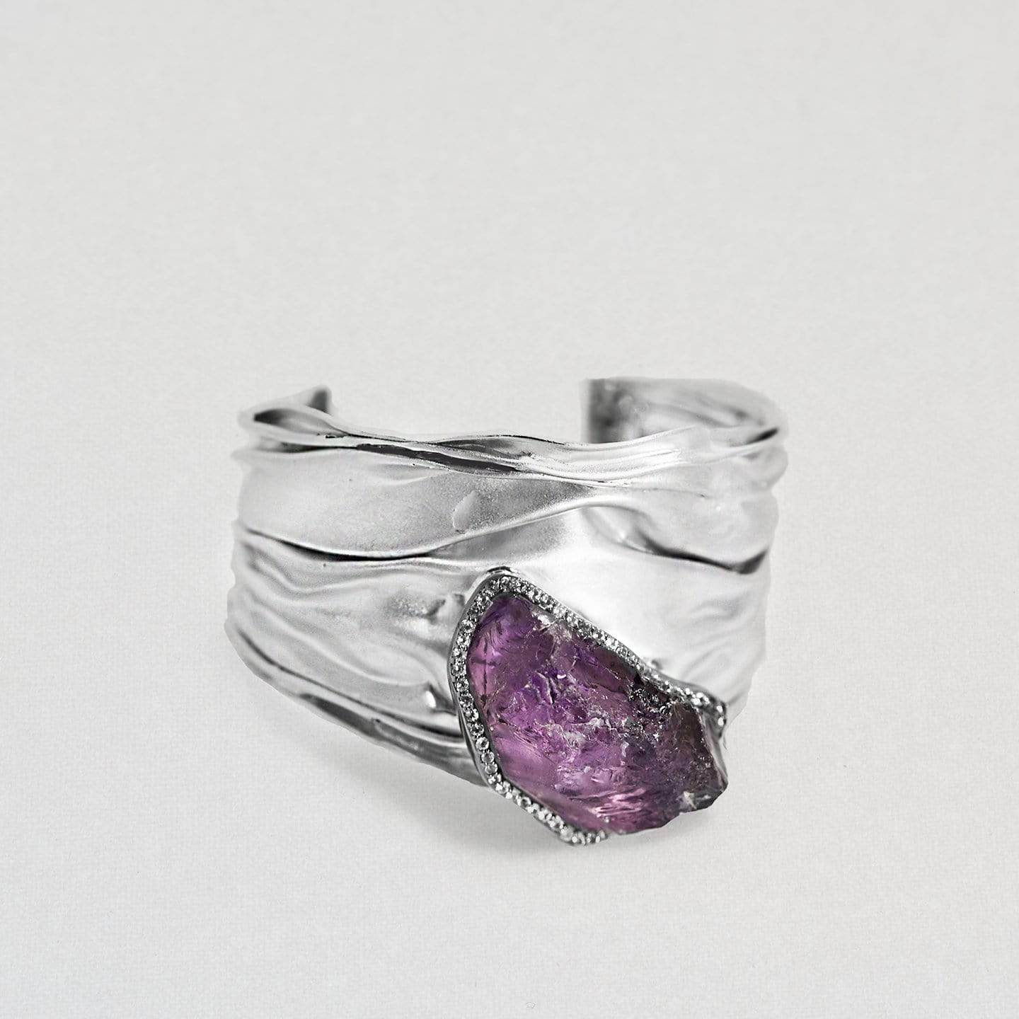 Aravis Bangle, Amethyst, Exclusive, gray, Rhodium, spo-disabled, StoneColor:purple, Style:Statement, Topaz Bangle