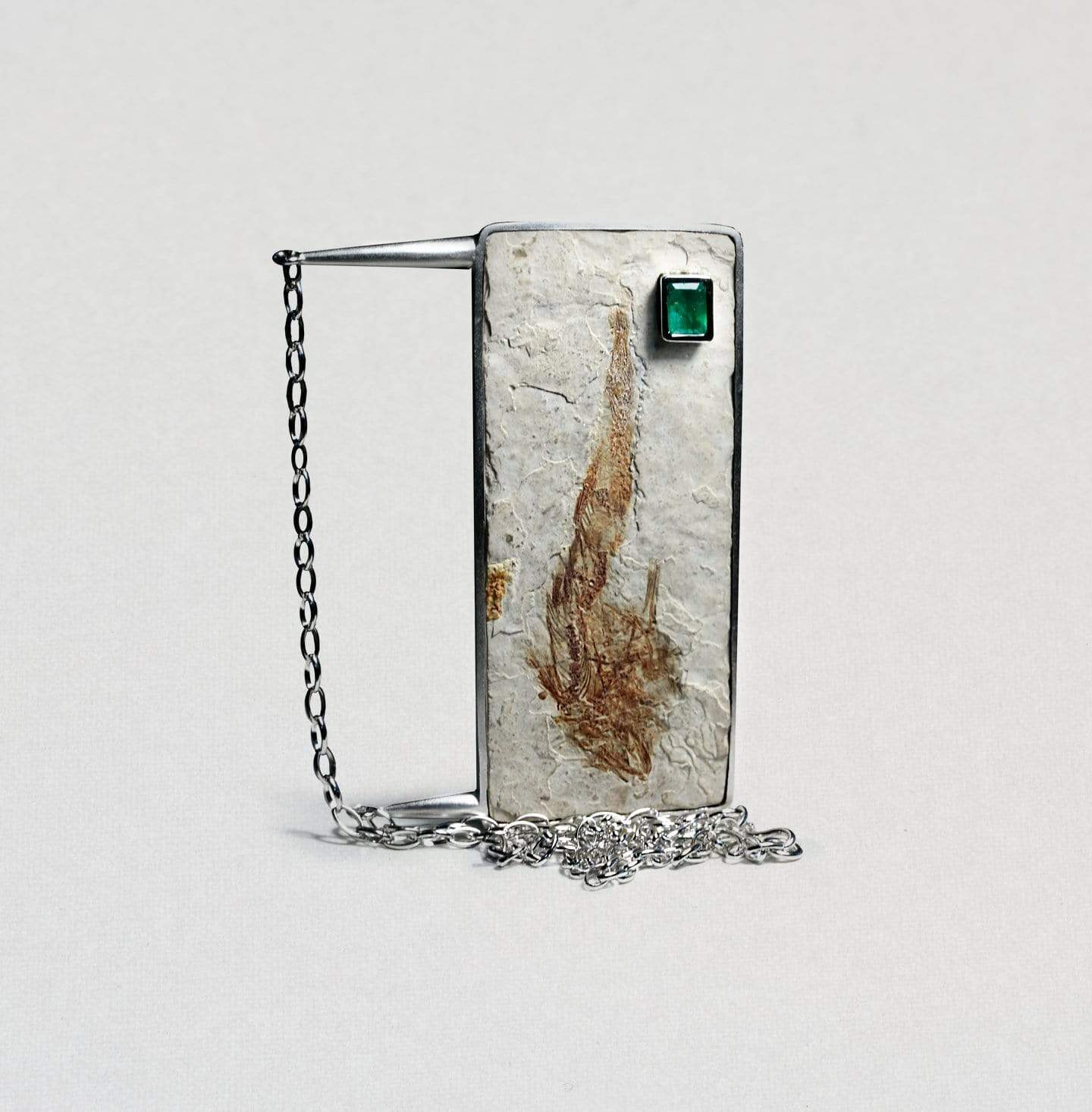 Piscea Necklace, Emerald, Exclusive, FossilFish, Rhodium, silver, spo-disabled, StoneColor:Green, Style:Statement Necklace