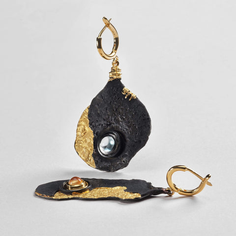 Diara Earrings, Anthracite, black, Gold, Quartz, Serial, spo-disabled, StoneColor:Blue, StoneColor:Yellow, Topaz Earrings