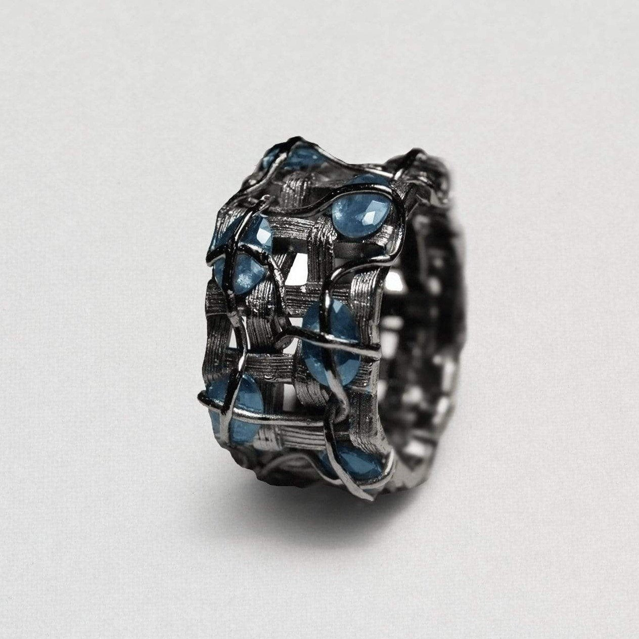 Fisara Ring, gray, Handmade, Rhodium, Sapphire, spo-disabled, StoneColor:DeepBlue, Style:Everyday, Type:StoneCandyWired Ring