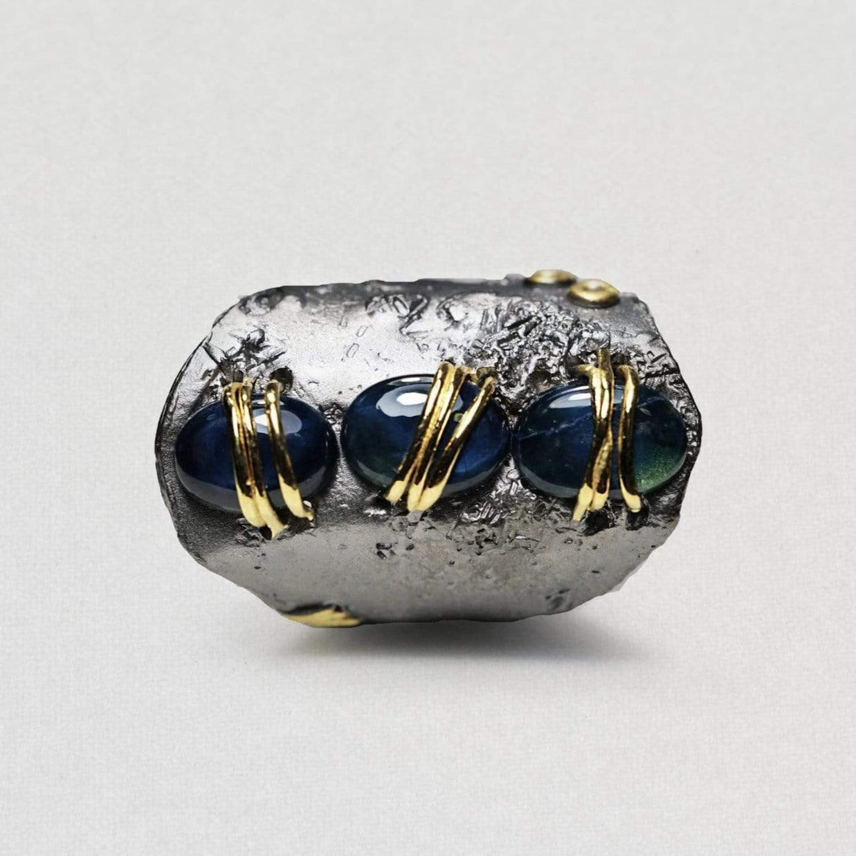 Anira Ring, Gold, gray, Handmade, Rhodium, Sapphire, spo-disabled, StoneColor:DeepBlue, Style:Everyday, Type:StoneCandyWired Ring