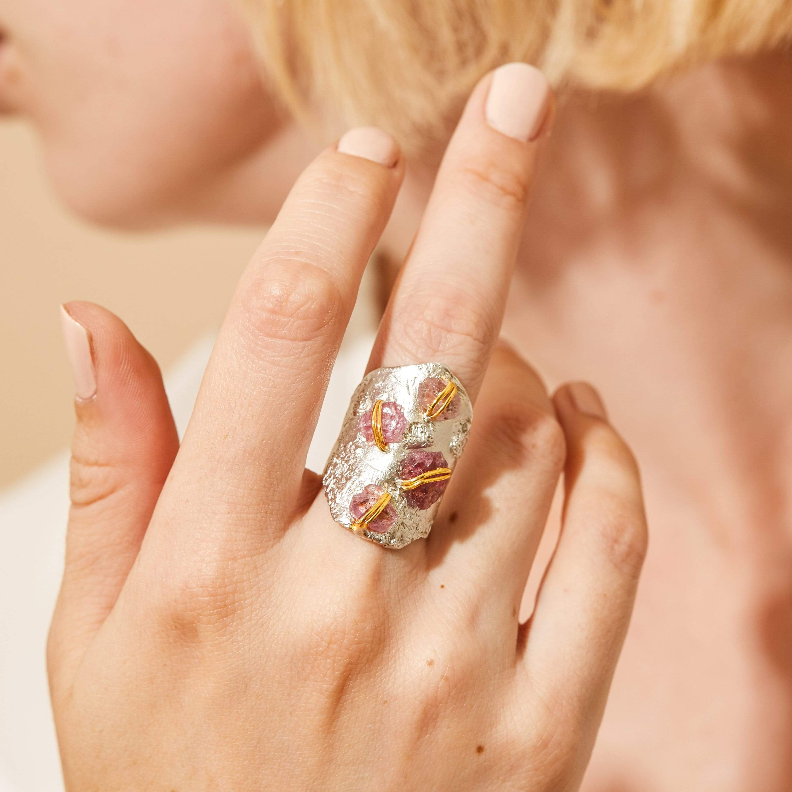 Shadia Ring, Gold, Handmade, Rhodium, Ruby, silver, spo-disabled, StoneColor:PinkRuby, Style:Everyday, Type:StoneCandyWired Ring