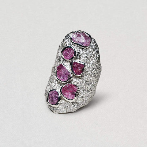 Adelie Ring, Handmade, Rhodium, Ruby, silver, spo-disabled, StoneColor:PinkRuby, Style:Everyday, Type:StoneCandyScattered Ring