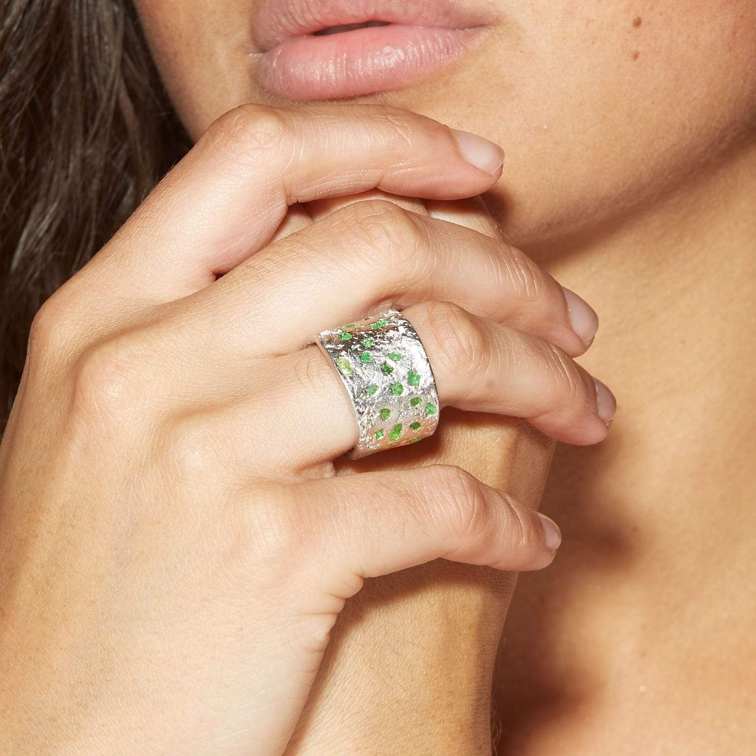 Milda Ring, Handmade, Rhodium, silver, spo-disabled, StoneColor:Green, Style:Everyday, Tsavorite, Type:StoneCandyScattered Ring