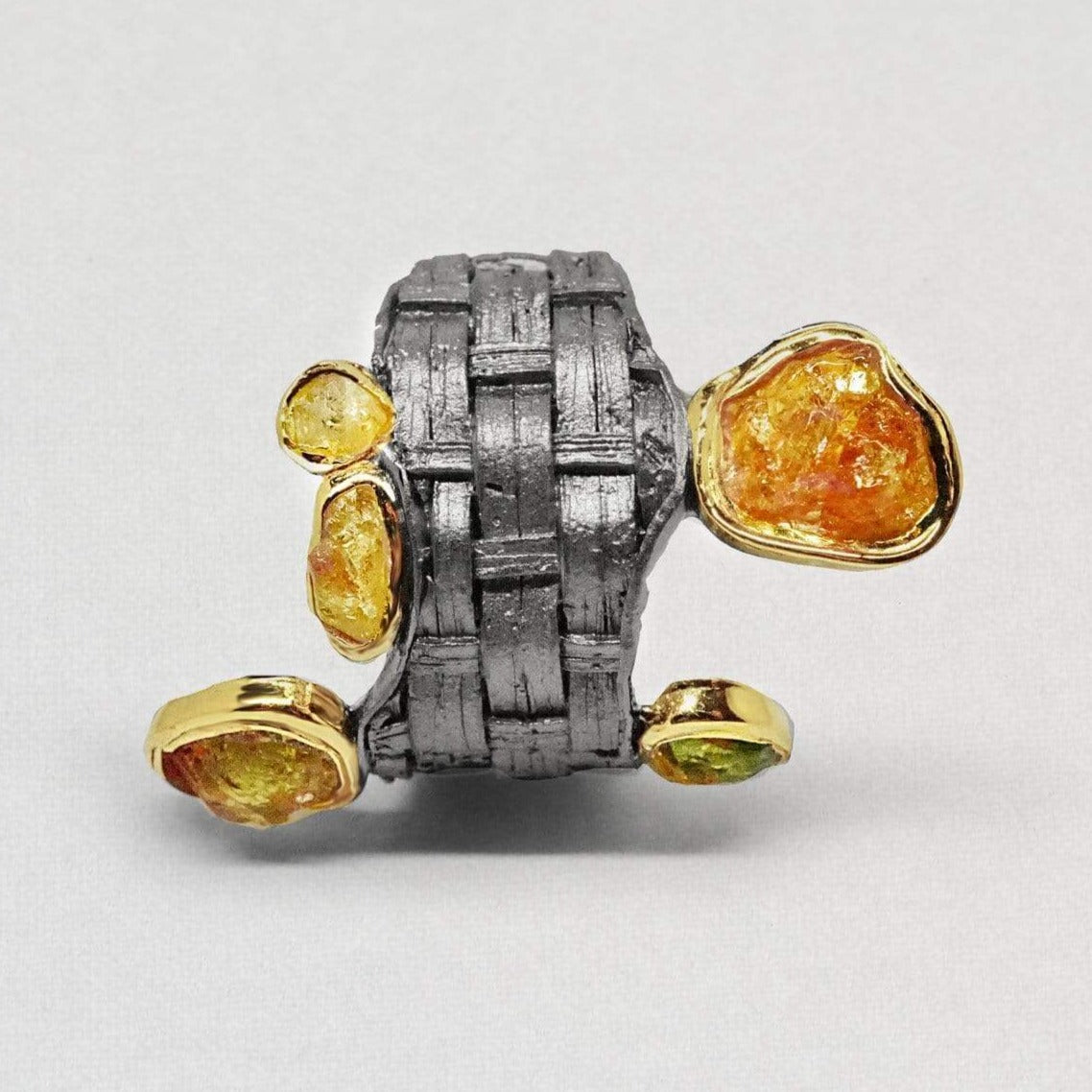 Cristalli Ring, Chrysoberyl, Gold, gray, Handmade, Rhodium, spo-disabled, StoneColor:Orange, Style:Everyday, Type:Jokers Ring