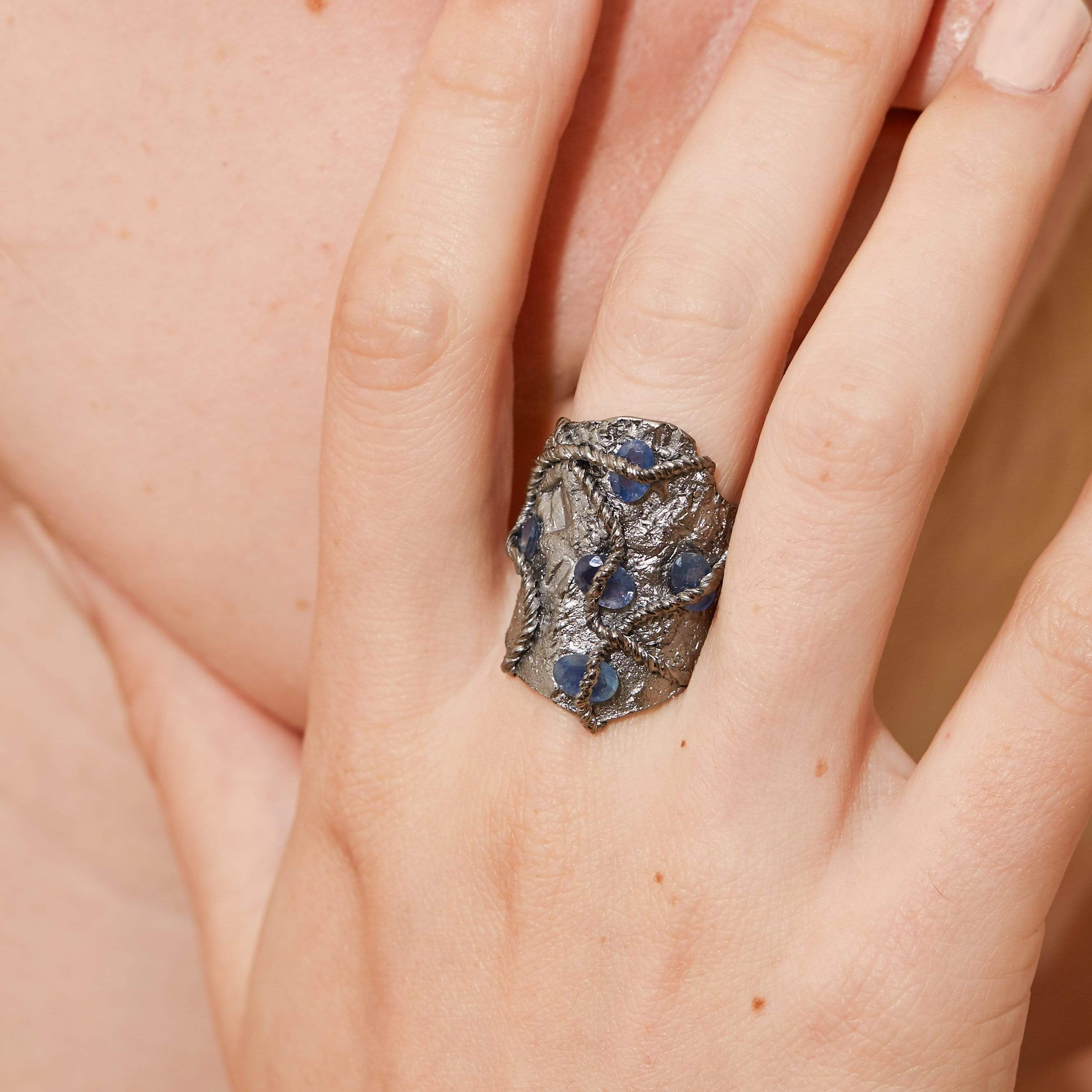 Merian Ring, gray, Handmade, Rhodium, Sapphire, spo-disabled, StoneColor:Blue, Style:Everyday, Type:StoneCandyWired Ring