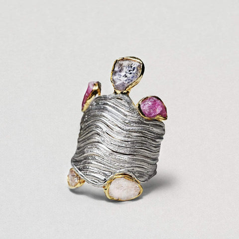 Carmeria Ring, Gold, Handmade, Rhodium, Sapphire, silver, spo-disabled, StoneColor:PastelColor, Style:Everyday, Type:Jokers Ring