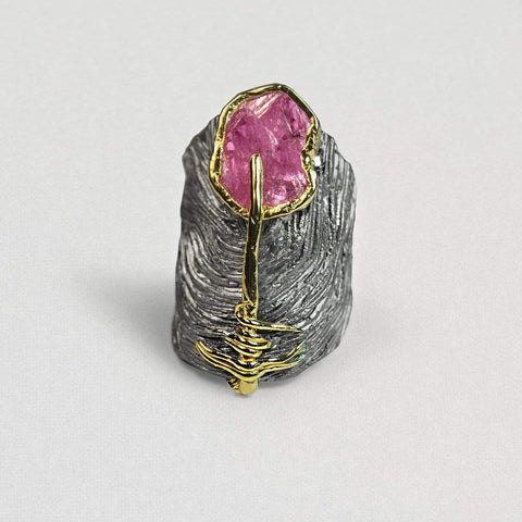 Lancia Ring, Gold, Handmade, Rhodium, Ruby, silver, spo-disabled, StoneColor:PinkRuby, Style:Fantasy, Type:StoneCandyWired Ring