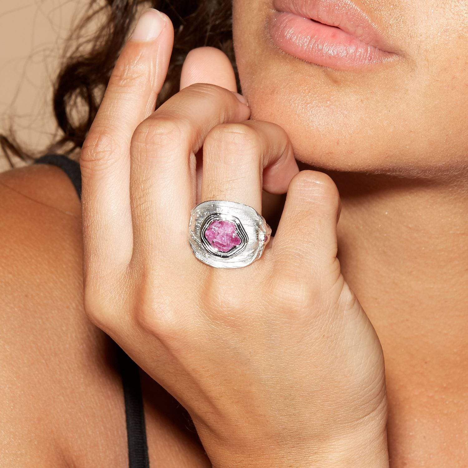 Alenna Ring, Gold, Handmade, Rhodium, Ruby, silver, spo-disabled, StoneColor:PinkRuby, Style:Everyday, Type:StoneCandyScattered Ring