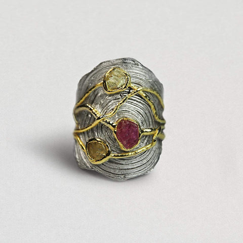 Ardith Ring, Chrysoberyl, Gold, Handmade, Rhodium, Ruby, silver, spo-disabled, StoneColor:PinkRuby, StoneColor:Yellow, Style:Everyday, Type:StoneCandyWired Ring