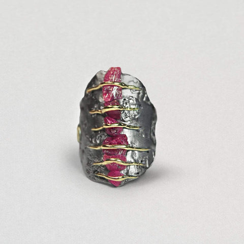 Daralis Ring, Gold, Handmade, Rhodium, Ruby, silver, spo-disabled, StoneColor:PinkRuby, Style:Everyday, Type:StoneCandyWired Ring