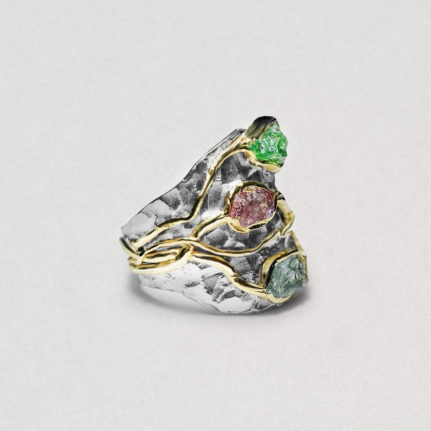 Eleris Ring, Gold, Handmade, Rhodium, Sapphire, silver, spo-disabled, StoneColor:MixedColor, Style:Everyday, Tsavorite, Type:StoneCandyWired Ring