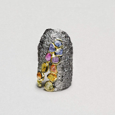 Latunia Ring, Gold, gray, Handmade, Rhodium, Sapphire, spo-disabled, StoneColor:MixedColor, Style:Everyday, Type:StoneCandyScattered Ring