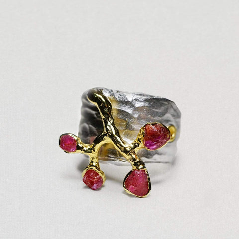 Incresia Ring, Gold, Handmade, Rhodium, Ruby, silver, spo-disabled, StoneColor:Red, Style:Fantasy, Type:Garden, Type:StoneCandyOut Ring