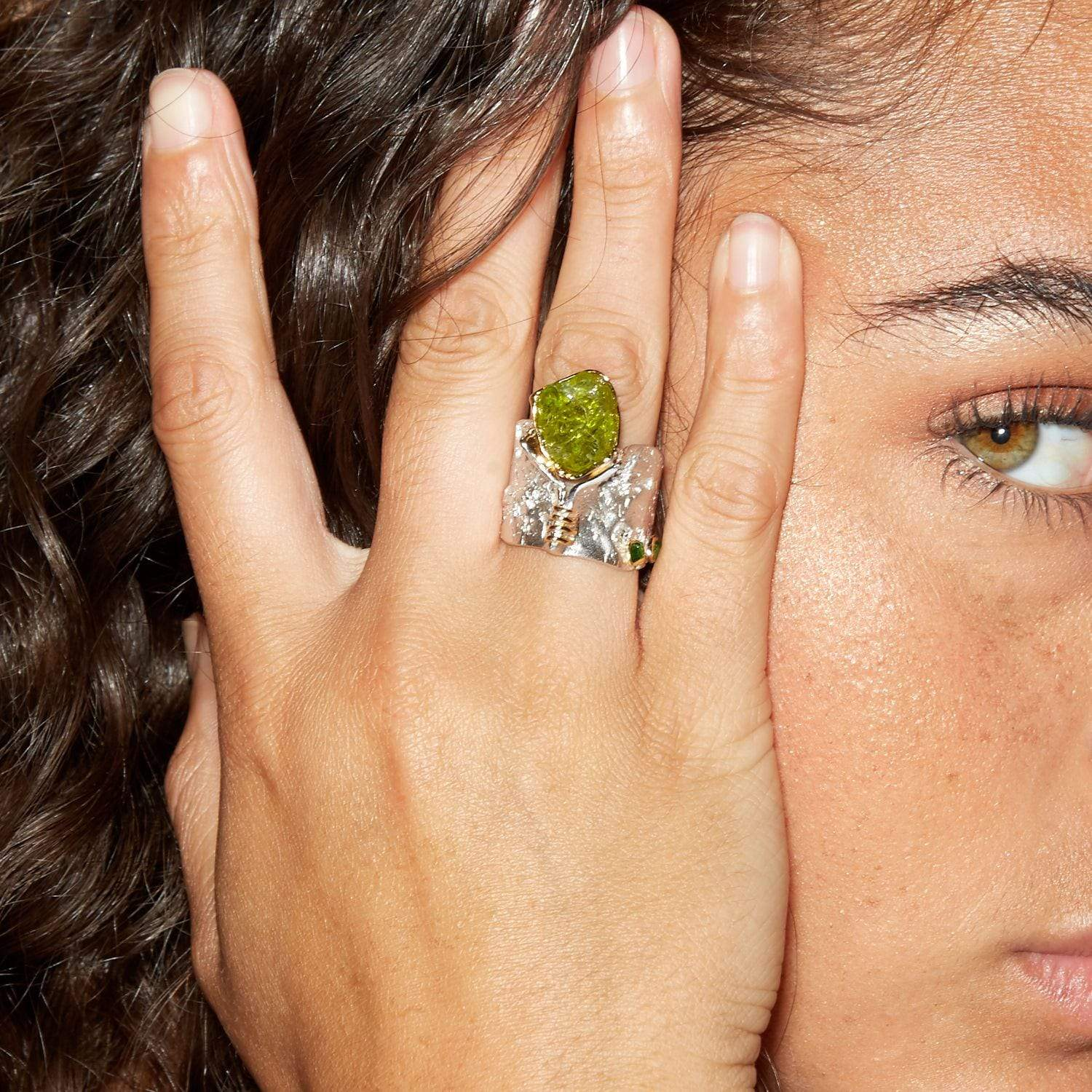 Gytha Ring, Gold, Handmade, Peridot, Rhodium, silver, StoneColor:Green, Style:Statement, Tsavorite, Type:LargeSoloStone Ring