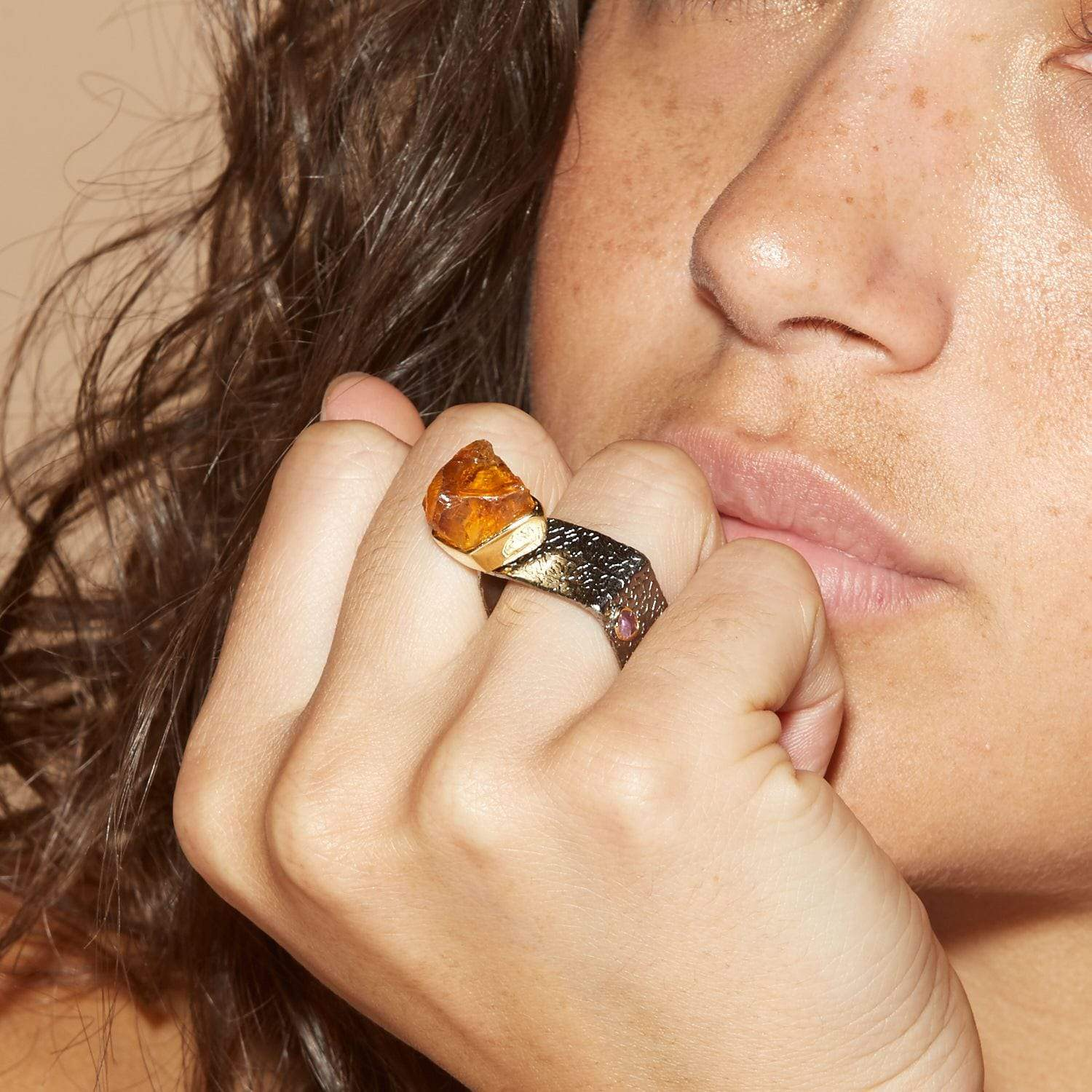 Bevan Ring, Citrine, Gold, gray, Handmade, Rhodium, spo-disabled, StoneColor:Orange, Style:Statement, Type:LargeSoloStone Ring