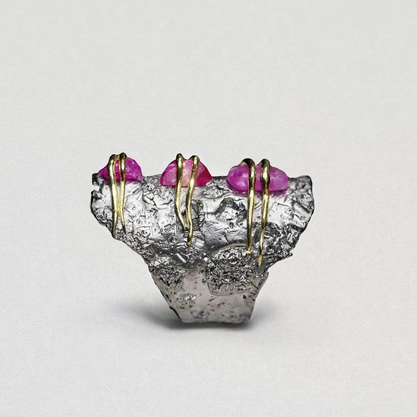 Rolina Ring, Gold, gray, Handmade, Rhodium, Sapphire, spo-disabled, StoneColor:Pink, Style:Everyday, Type:StoneCandyWired Ring