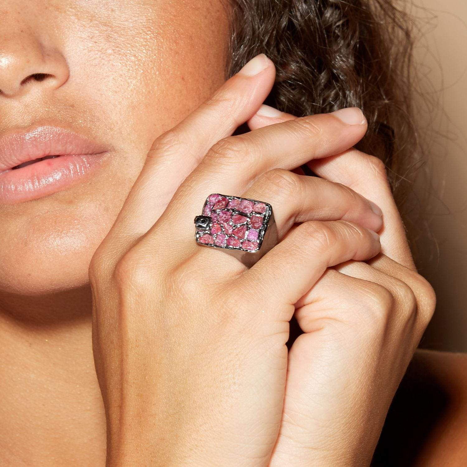 Nydia Ring, gray, Handmade, Rhodium, Ruby, Sapphire, spo-disabled, StoneColor:Pink, Style:Everyday, Type:StainedGlass Ring