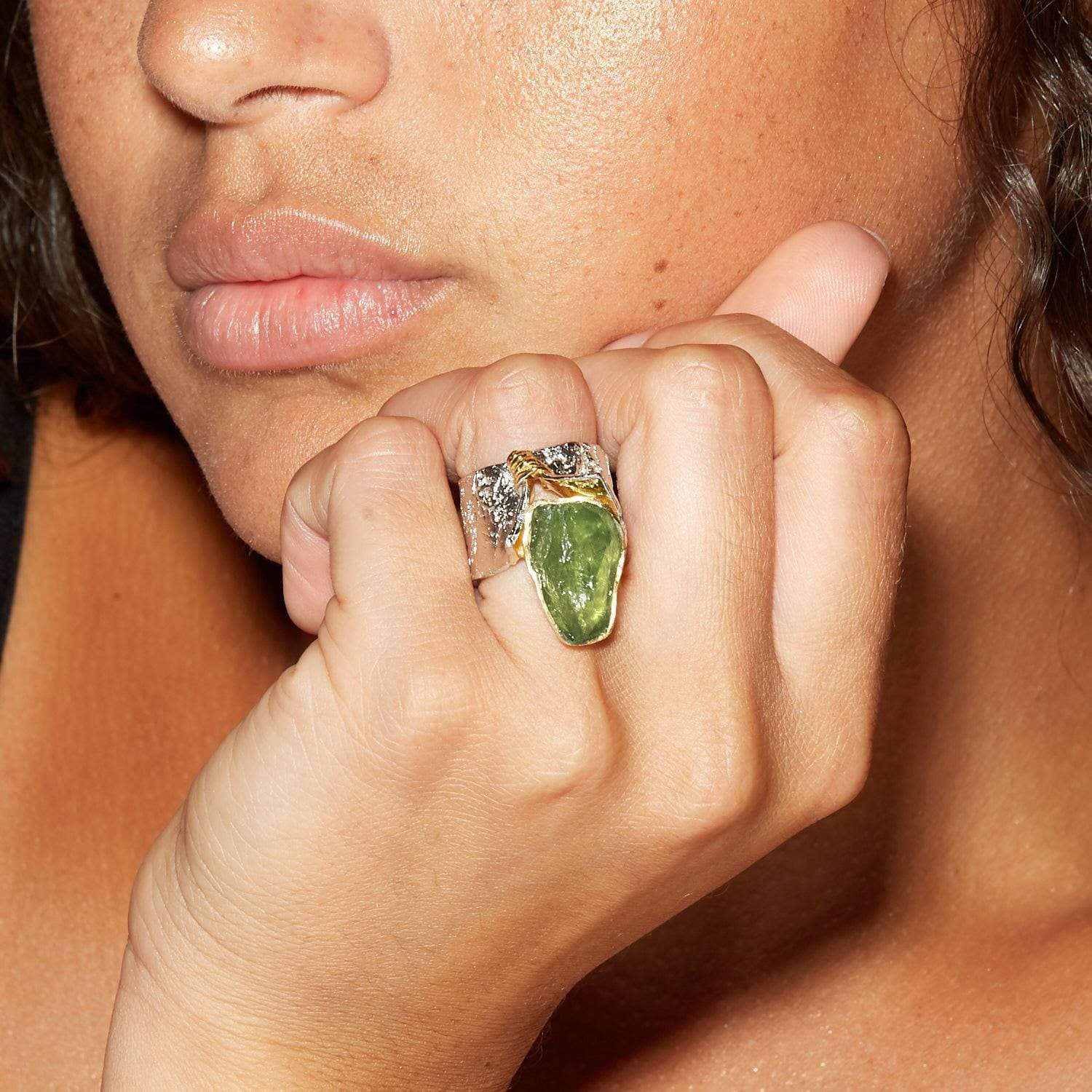 Corliss Ring, Gold, Handmade, Peridot, Rhodium, silver, spo-disabled, StoneColor:Green, Style:Statement, Type:LargeSoloStone Ring