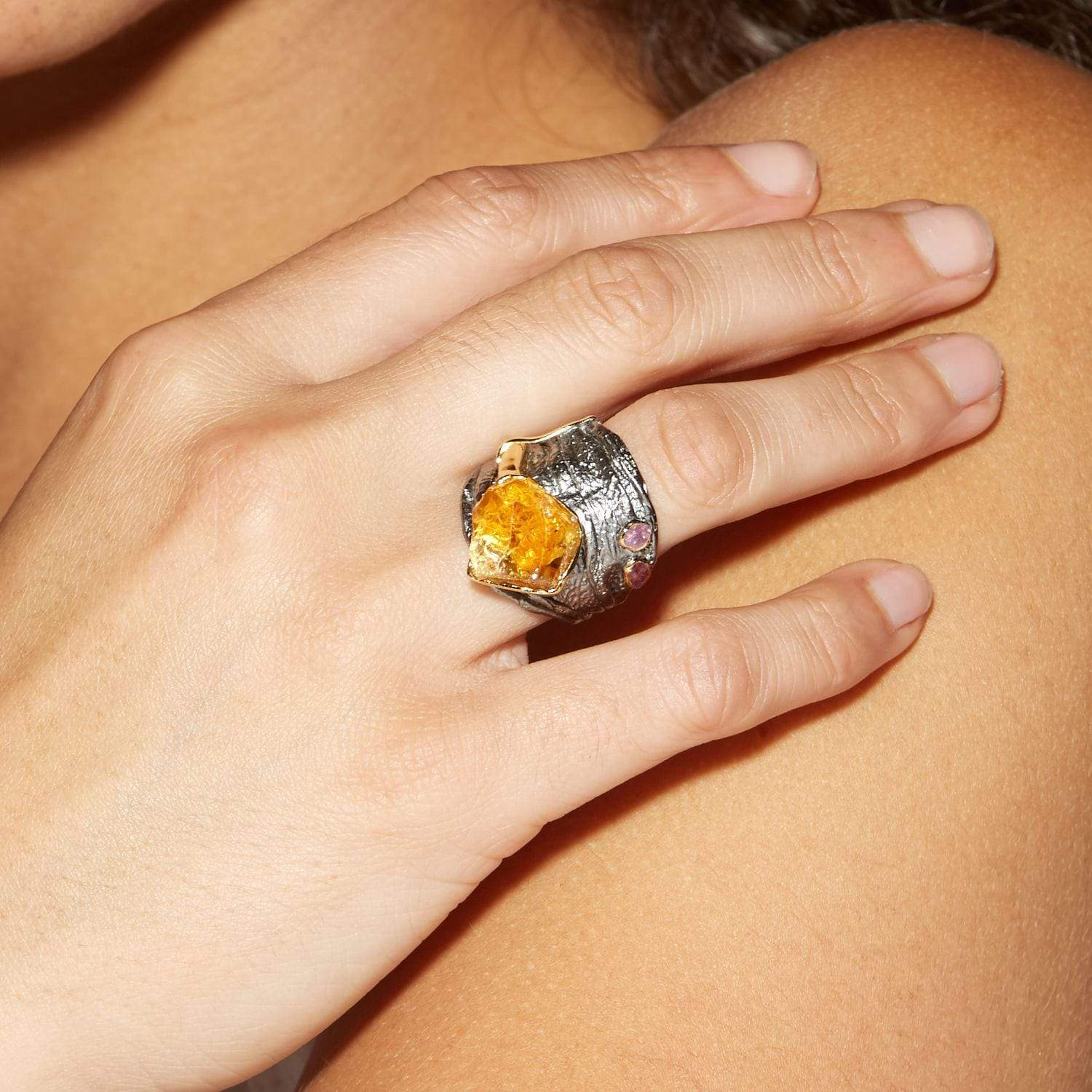 Angen Ring, Citrine, Gold, gray, Handmade, Rhodium, Ruby, spo-disabled, StoneColor:Orange, Style:Statement, Type:LargeSoloStone Ring