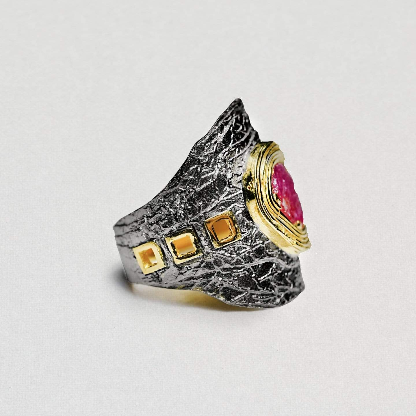 Prascia Ring, Gold, gray, Handmade, Rhodium, Ruby, spo-disabled, StoneColor:PinkRuby, Style:Everyday, Type:StoneCandyScattered Ring