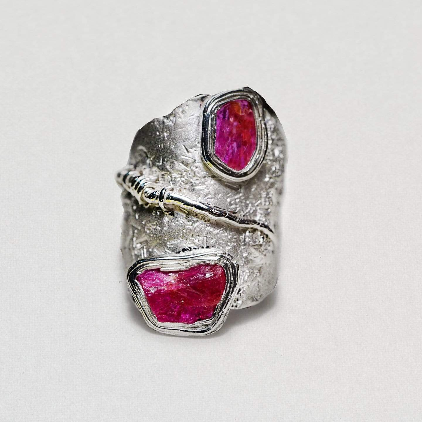 Trista Ring, Handmade, Rhodium, Ruby, silver, spo-disabled, StoneColor:PinkRuby, Style:Everyday, Type:StoneCandyScattered Ring