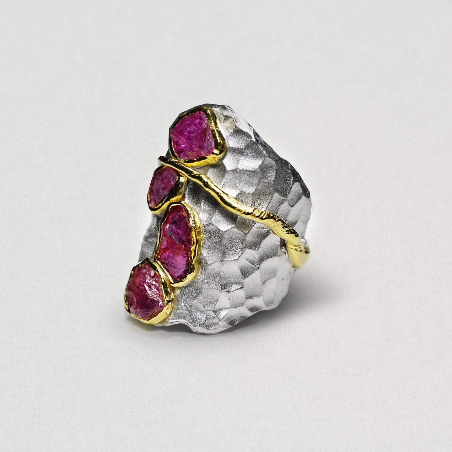 Quintila Ring, Gold, Handmade, Rhodium, Ruby, silver, spo-disabled, StoneColor:PinkRuby, Style:Everyday, Type:StoneCandyScattered Ring