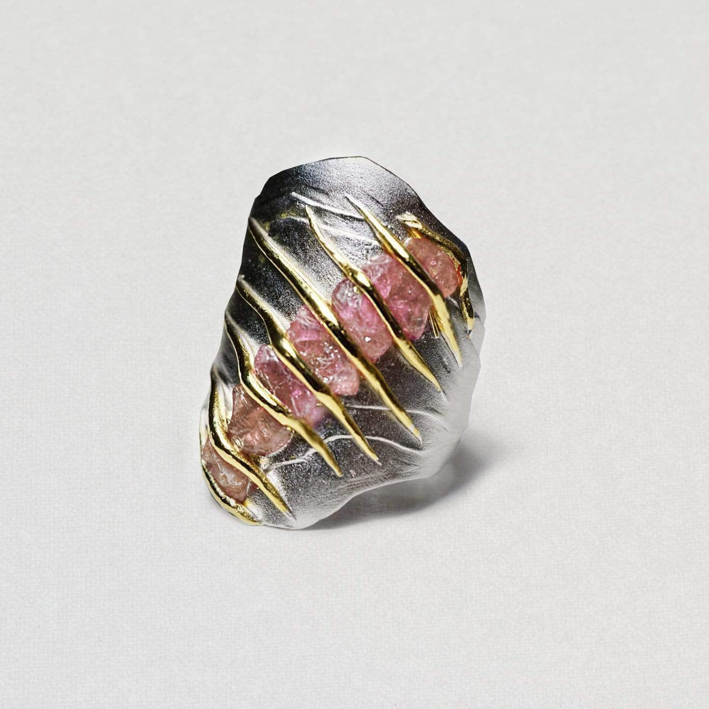 Warda Ring, Gold, gray, Handmade, Rhodium, Ruby, spo-disabled, StoneColor:PinkRuby, Style:Everyday, Type:StoneCandyWired Ring