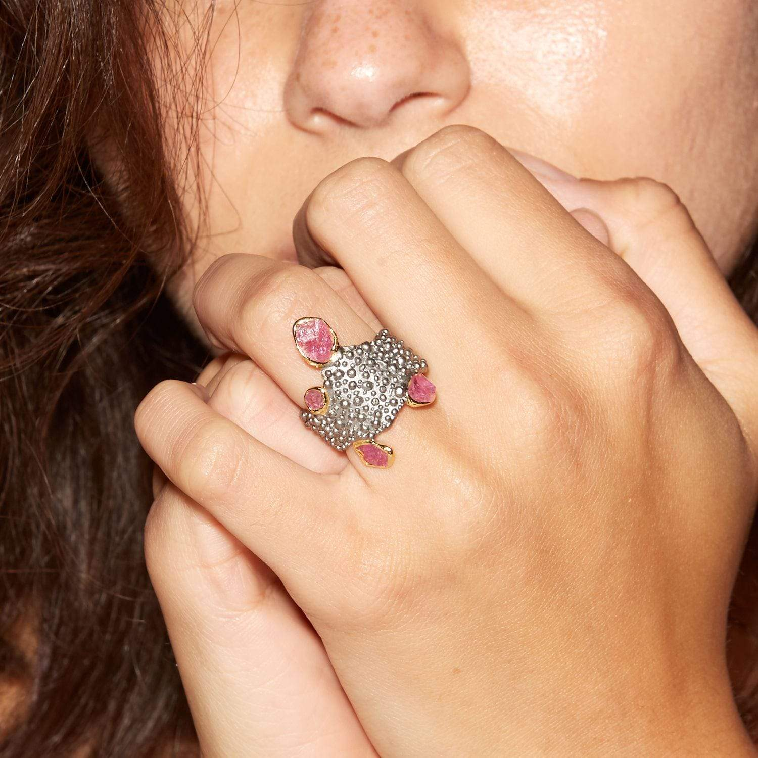 Sferia Ring, Gold, gray, Handmade, Rhodium, Ruby, spo-disabled, StoneColor:PinkRuby, Style:Everyday, Type:Jokers Ring