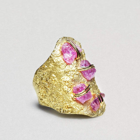 Coronia Ring, Gold, Handmade, Sapphire, spo-disabled, StoneColor:Pink, Style:Everyday, Type:StoneCandyWired Ring
