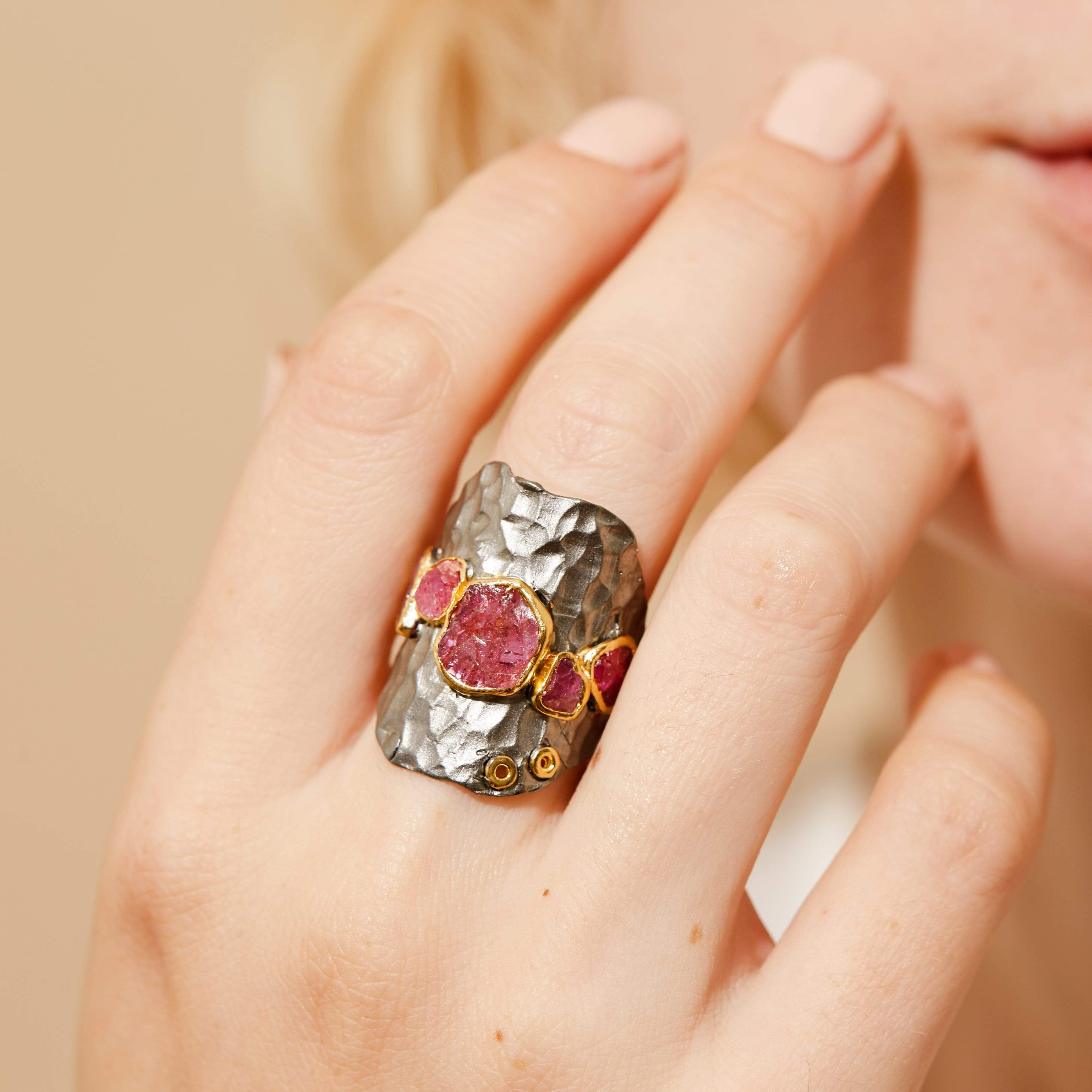 Caleona Ring, Gold, gray, Handmade, Rhodium, Ruby, spo-disabled, StoneColor:PinkRuby, Style:Everyday, Type:StoneCandyScattered Ring