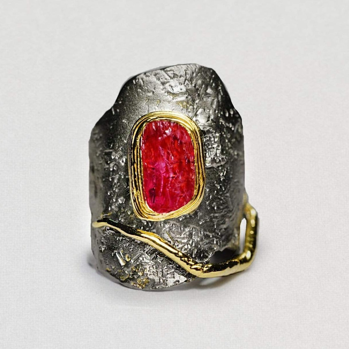 Veturia Ring, Gold, gray, Handmade, Rhodium, Ruby, spo-disabled, StoneColor:PinkRuby, Style:Everyday, Type:StoneCandyWired Ring