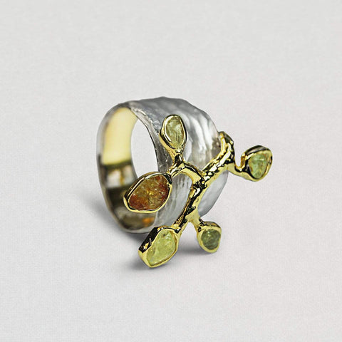 Astrala Ring, Chrysoberyl, Gold, Handmade, Rhodium, silver, spo-disabled, StoneColor:Yellow, Style:Fantasy, Type:Garden, Type:StoneCandyOut Ring