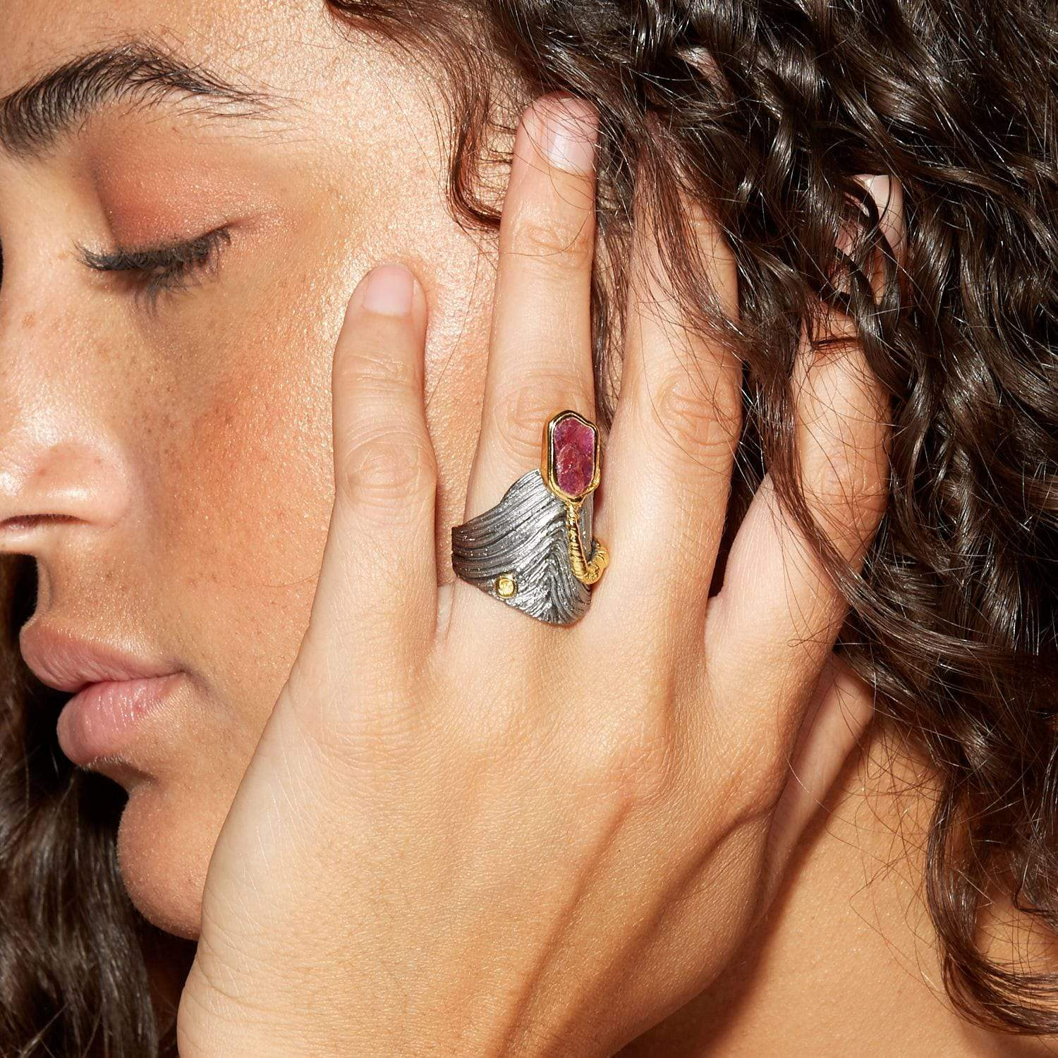 Monifa Ring, Gold, gray, Handmade, Rhodium, Ruby, spo-disabled, StoneColor:PinkRuby, Style:Everyday, type:StoneCandyOut, Type:StoneCandyWired Ring