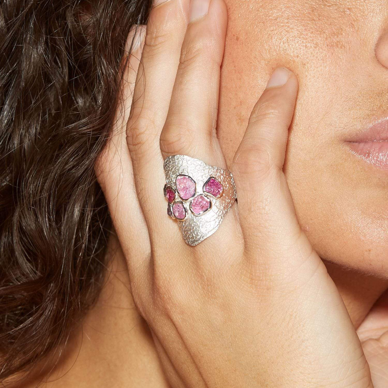 Dalia Ring, Handmade, Rhodium, Sapphire, silver, spo-disabled, StoneColor:Pink, Style:Everyday, Type:StoneCandyScattered Ring