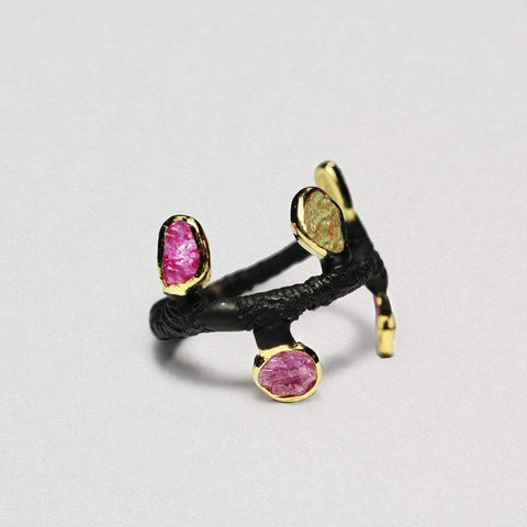 Caelia Ring, Anthracite, black, Chrysoberyl, Gold, Handmade, Spinel, spo-disabled, StoneColor:Pink, StoneColor:Yellow, Style:Delicate, Type:BlackAnthracite, Type:StoneCandyDelicate Ring