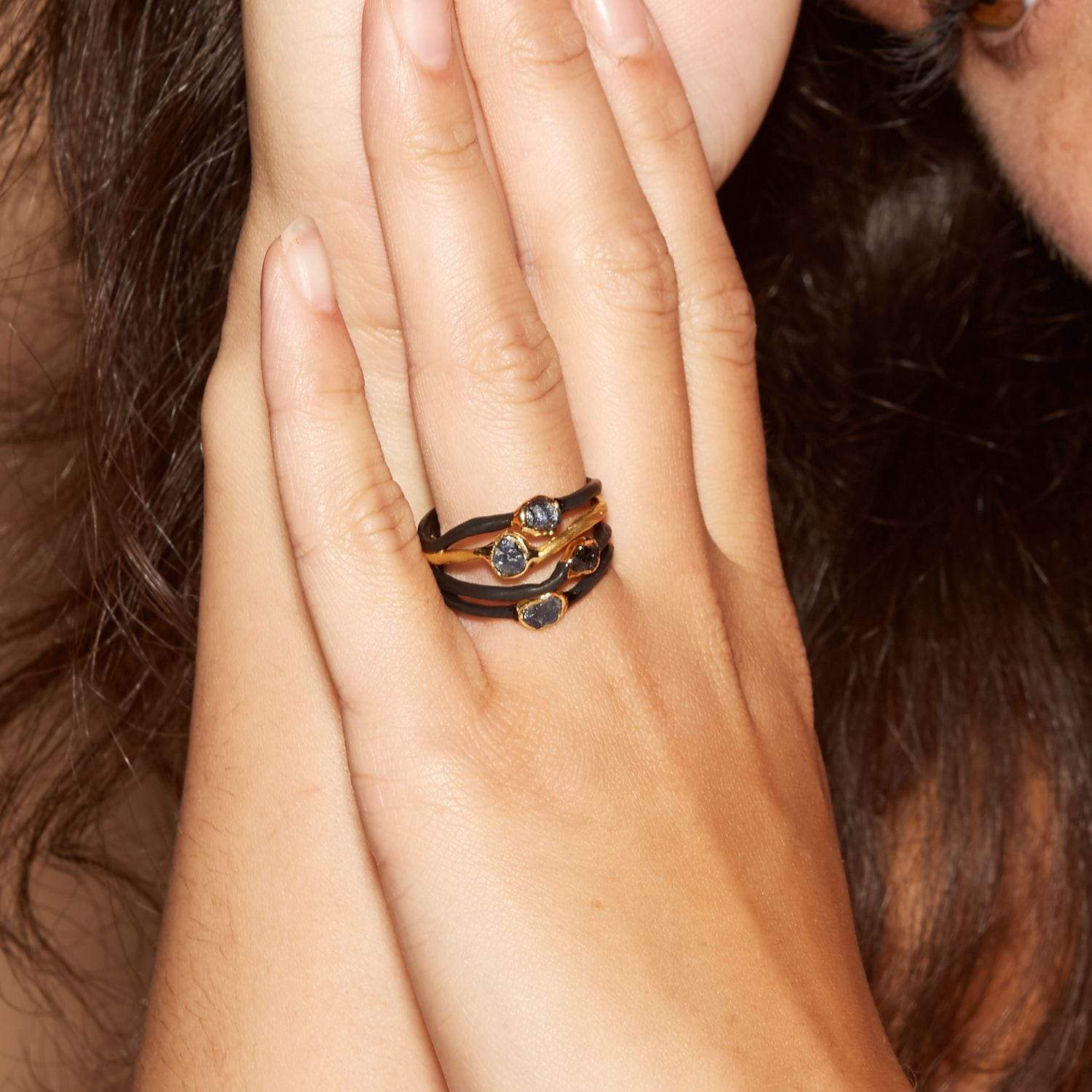 Terina Ring, Anthracite, black, Gold, Handmade, Sapphire, spo-disabled, StoneColor:DeepBlue, Style:Delicate, Type:BlackAnthracite, Type:StoneCandyDelicate Ring