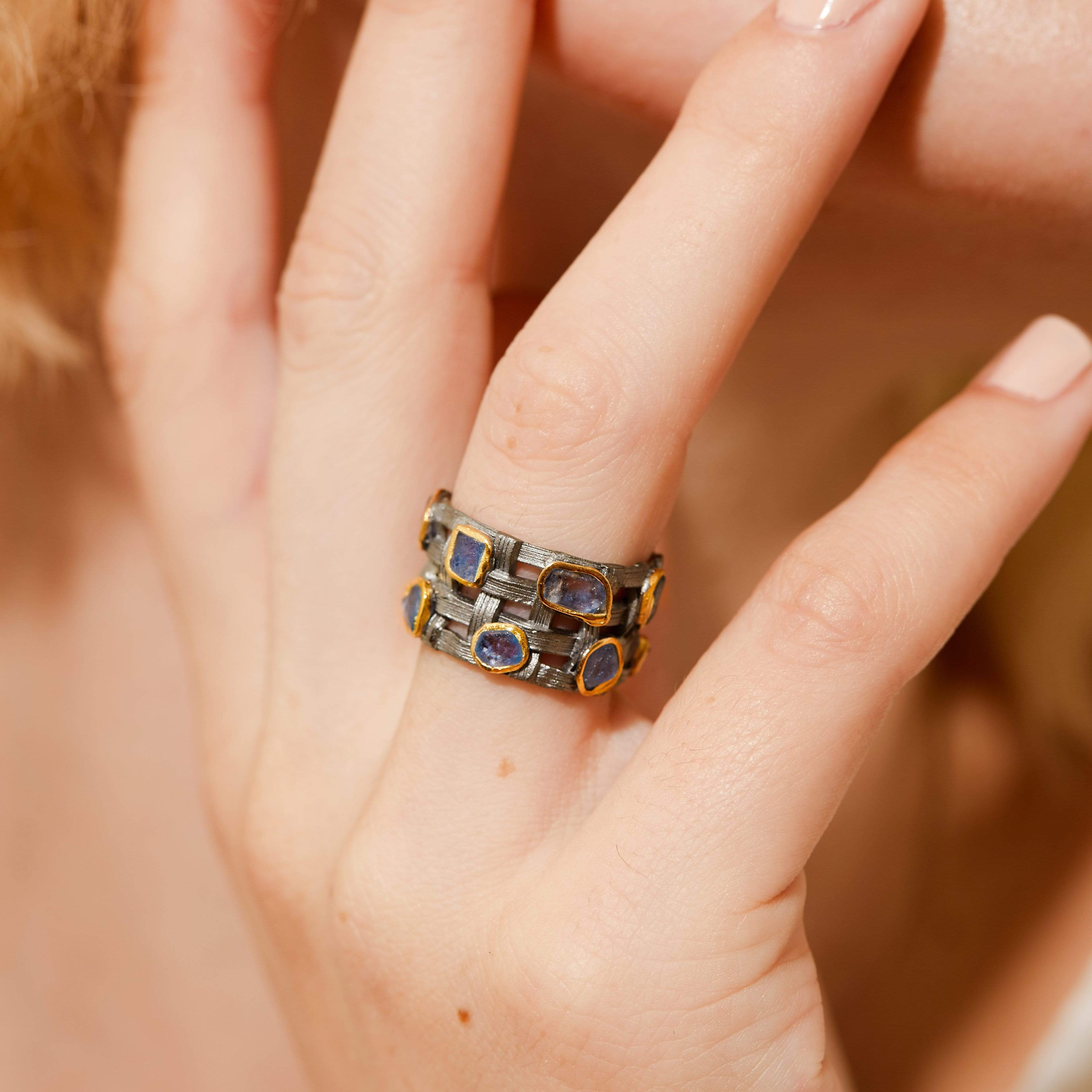 Kalista Ring, Gold, gray, Handmade, Rhodium, Sapphire, spo-disabled, StoneColor:Blue, Style:Everyday, Type:StoneCandyScattered Ring